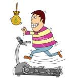 Man chasing money on treadmill